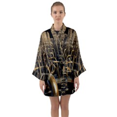 Fractal Image Of Copper Pipes Long Sleeve Kimono Robe