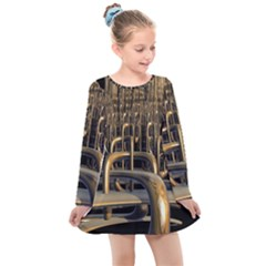 Fractal Image Of Copper Pipes Kids  Long Sleeve Dress by Jojostore