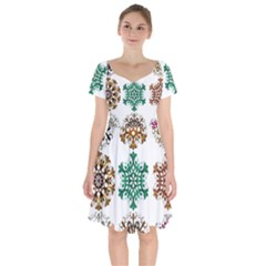 A Set Of 9 Nine Snowflakes On White Short Sleeve Bardot Dress
