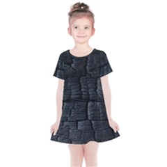 Black Burnt Wood Texture Kids  Simple Cotton Dress