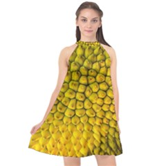 Jack Shell Jack Fruit Close Halter Neckline Chiffon Dress
