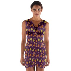 Fall Leaves Purple Wrap Front Bodycon Dress by chihuahuadresses