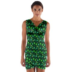 Green Leaves Wrap Front Bodycon Dress by chihuahuadresses
