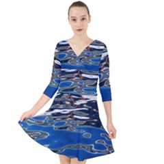 Colorful Reflections In Water Quarter Sleeve Front Wrap Dress