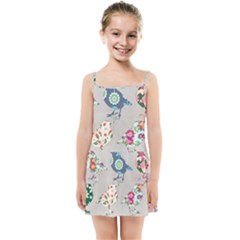Birds Floral Pattern Wallpaper Kids Summer Sun Dress by Jojostore