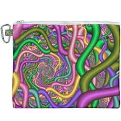 Fractal Background With Tangled Color Hoses Canvas Cosmetic Bag (xxxl) by Jojostore