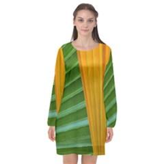Pattern Colorful Palm Leaves Long Sleeve Chiffon Shift Dress  by Jojostore