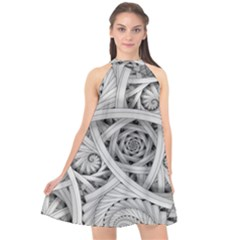 Fractal Wallpaper Black N White Chaos Halter Neckline Chiffon Dress  by Jojostore