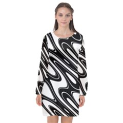 Black And White Wave Abstract Long Sleeve Chiffon Shift Dress  by Jojostore