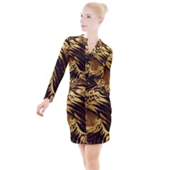 Stripes Tiger Pattern Safari Animal Print Button Long Sleeve Dress by Jojostore