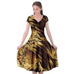 Stripes Tiger Pattern Safari Animal Print Cap Sleeve Wrap Front Dress