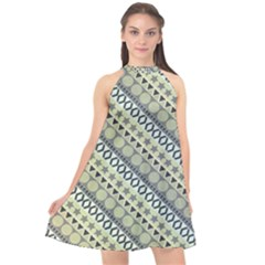 Abstract Seamless Pattern Halter Neckline Chiffon Dress