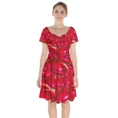 Red Abstract Cherry Balls Pattern Short Sleeve Bardot Dress by Jojostore