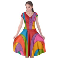Modern Abstract Colorful Stripes Wallpaper Background Cap Sleeve Wrap Front Dress by Jojostore