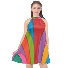 Modern Abstract Colorful Stripes Wallpaper Background Halter Neckline Chiffon Dress  by Jojostore