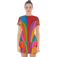 Modern Abstract Colorful Stripes Wallpaper Background Drop Hem Mini Chiffon Dress by Jojostore
