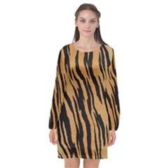 Tiger Animal Print A Completely Seamless Tile Able Background Design Pattern Long Sleeve Chiffon Shift Dress  by Jojostore