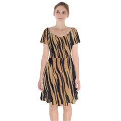 Tiger Animal Print A Completely Seamless Tile Able Background Design Pattern Short Sleeve Bardot Dress by Jojostore