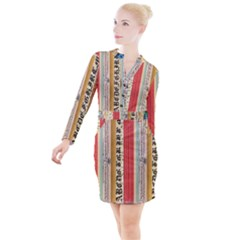 Digitally Created Collage Pattern Made Up Of Patterned Stripes Button Long Sleeve Dress
