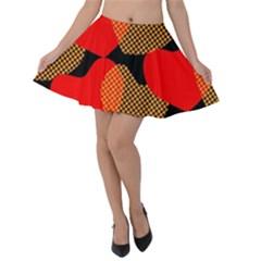 Heart Pattern Velvet Skater Skirt