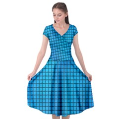 Seamless Blue Tiles Pattern Cap Sleeve Wrap Front Dress