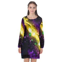 Galaxy Deep Space Space Universe Stars Nebula Long Sleeve Chiffon Shift Dress  by Jojostore