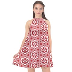 Floral Abstract Pattern Halter Neckline Chiffon Dress