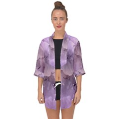Wonderful Flowers In Soft Violet Colors Open Front Chiffon Kimono by FantasyWorld7