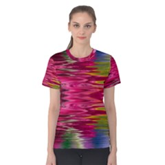 Abstract Pink Colorful Water Background Women s Cotton Tee