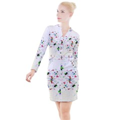 Star Structure Many Repetition Button Long Sleeve Dress
