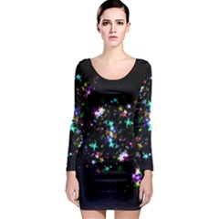 Star Structure Many Repetition Long Sleeve Bodycon Dress