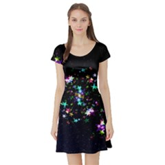 Star Structure Many Repetition Short Sleeve Skater Dress