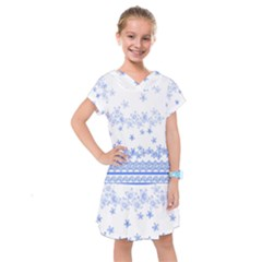 Blue And White Floral Background Kids  Drop Waist Dress by Jojostore