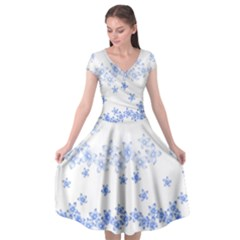 Blue And White Floral Background Cap Sleeve Wrap Front Dress by Jojostore
