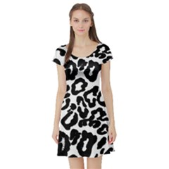 Black And White Leopard Skin Short Sleeve Skater Dress