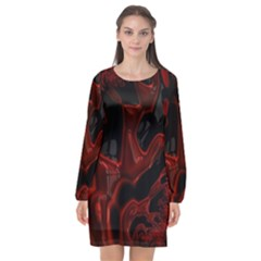 Fractal Red Black Glossy Pattern Decorative Long Sleeve Chiffon Shift Dress  by Jojostore