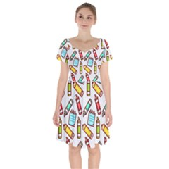 Seamless Pixel Art Pattern Short Sleeve Bardot Dress by Jojostore