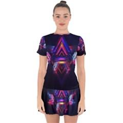 Abstract Desktop Backgrounds Drop Hem Mini Chiffon Dress