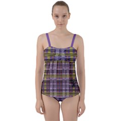 Playing With Plaid Kitten (purple) Halloween Pattern Twist Front Tankini Set by emilyzragz