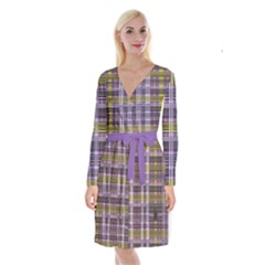 Playing With Plaid Kitten (purple) Halloween Pattern Long Sleeve Velvet Front Wrap Dress by emilyzragz