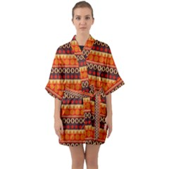 Abstract Lines Seamless Art  Pattern Quarter Sleeve Kimono Robe by Jojostore