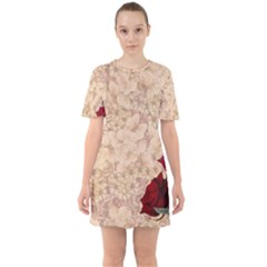 Retro Background Scrapbooking Paper Sixties Short Sleeve Mini Dress