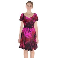 Abstract Bubble Background Short Sleeve Bardot Dress by Jojostore