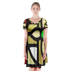 A Detail Of A Stained Glass Window Short Sleeve V Neck Flare Dress by Jojostore