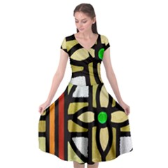 A Detail Of A Stained Glass Window Cap Sleeve Wrap Front Dress by Jojostore