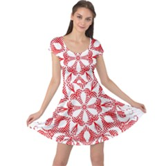 Red Pattern Filigree Snowflake On White Cap Sleeve Dress by Jojostore