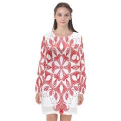 Red Pattern Filigree Snowflake On White Long Sleeve Chiffon Shift Dress  by Jojostore