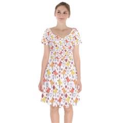 Animal Pattern Happy Birds Seamless Pattern Short Sleeve Bardot Dress by Jojostore