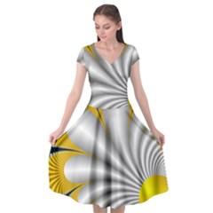 Fractal Gold Palm Tree On Black Background Cap Sleeve Wrap Front Dress by Jojostore