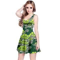 Seamless Tile Background Abstract Turtle Turtles Reversible Sleeveless Dress